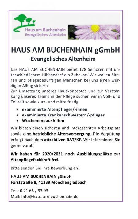 Stellenanzeige Examinierte Alten- und Krankenpfleger Wochenendaushilfen und Auszubildende 2020/2021 - 18.02.2020