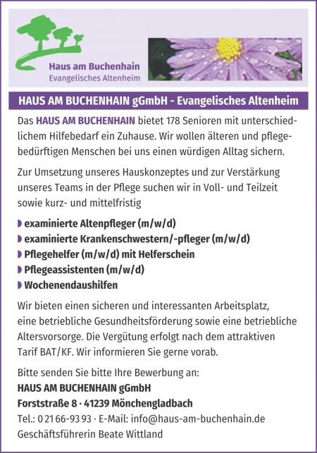 Stellenanzeige Examinierte Alten- und Krankenpfleger, Pflegehelfer und Pflegeassistenten, Wochenendaushilfen - 05.03.2020
